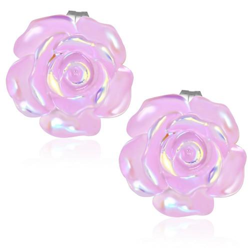 Světle růžový perleťový květ - Ocelové náušnice