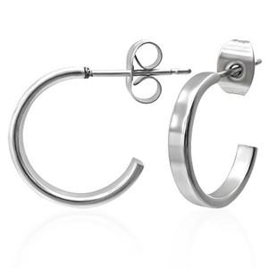 Otevřené kruhy s plochou 15 mm - Ocelové náušnice, zaoblené hrany