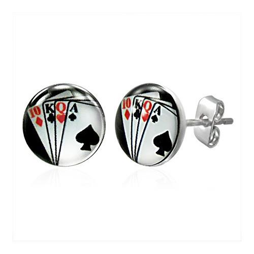Ocelové náušnice hrací karty - deset, král, královna a eso
