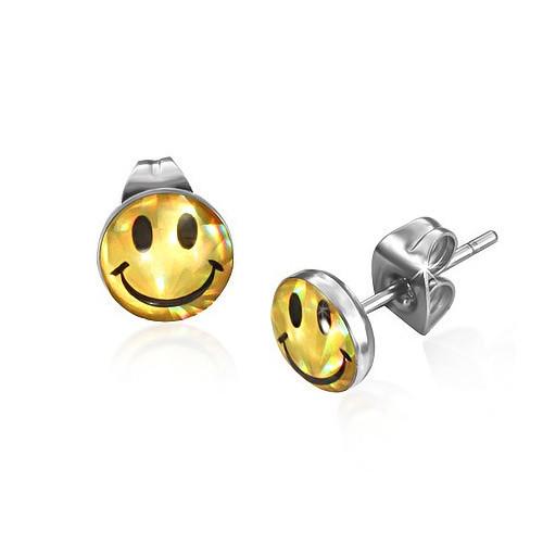 Ocelové náušnice zlatý usmívající se smajlík