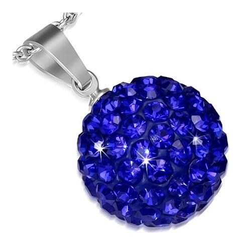 Ocelový přívěsek Disco Ball - kulička s tmavě modrými zirkony