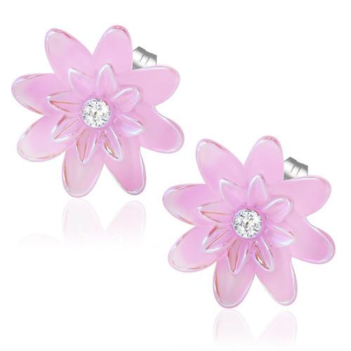Růžový perleťový květ s kamínkem - Ocelové náušnice