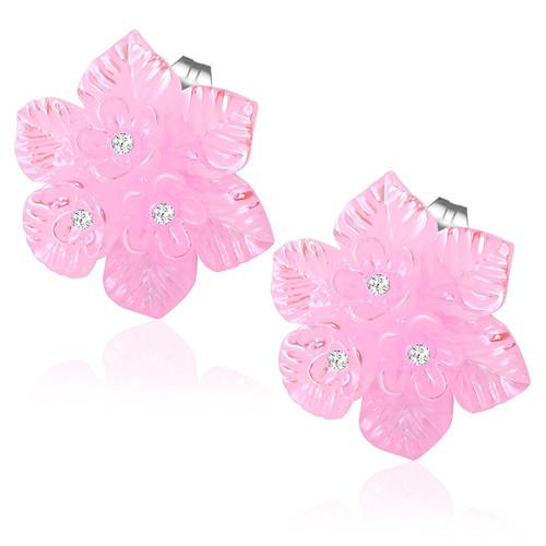 Růžová perleťová květina s kamínky - Ocelové náušnice