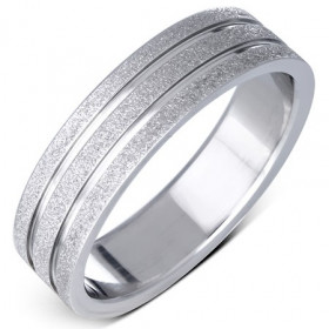 Pískovaný ocelový prsten s dvěma drážkami