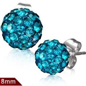 8mm – Modrá kulička s kamínky Disco Ball