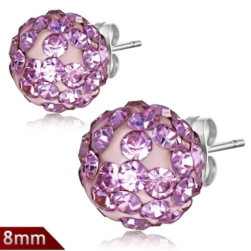 8mm – Světle růžová kulička s kamínky