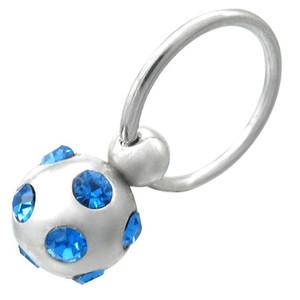 Piercing, kulička s modrými zirkony