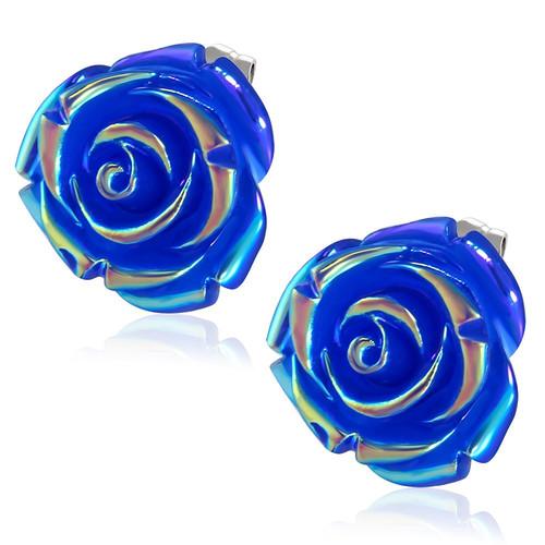 Tmavě modrý perleťový květ - Ocelové náušnice