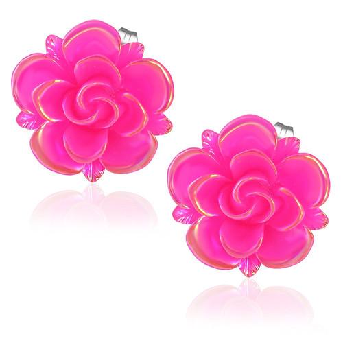 Růžová perleťová květina s lístky - Ocelové náušnice