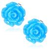 Světle modrý květ - Ocelové náušnice