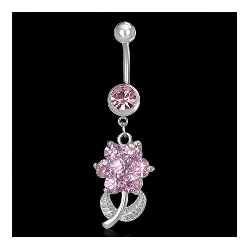 Ocelový piercing růžová květina