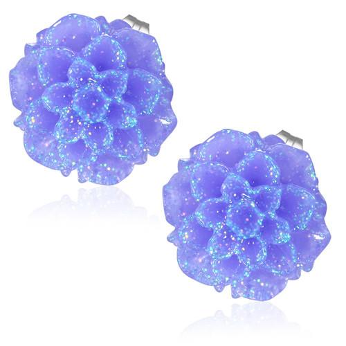 Fialový třpytivý květ - Ocelové náušnice