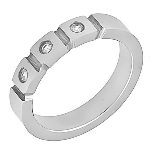 Ocelový prsten - tři kamínky
