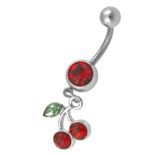 Ocelový piercing Třešeň, Barva zirkonu: Červená