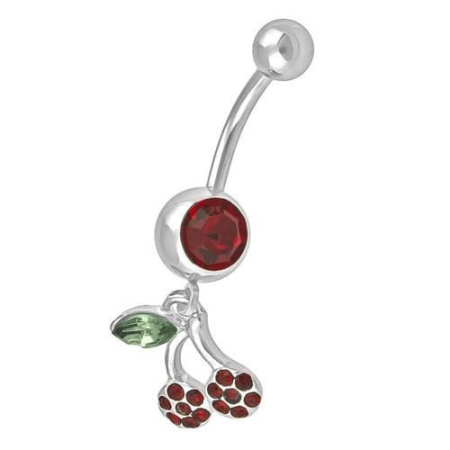 Ocelový piercing Třešinka, Barva zirkonu: Červená
