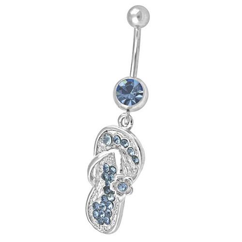 Ocelový piercing Obuv, Barva zirkonu: Modrá