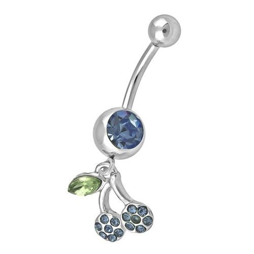Ocelový piercing Třešeň, Barva zirkonu: Modrá