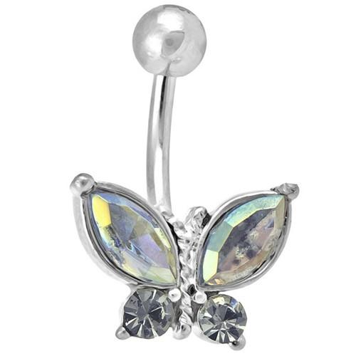 Ocelový piercing Motýl, Barva zirkonu: Vícebarevné