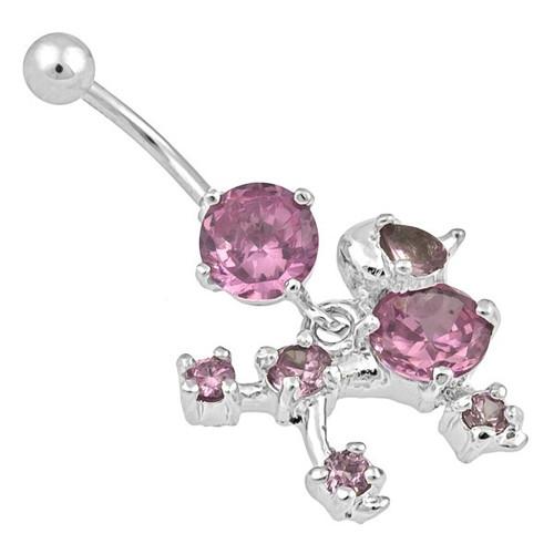 Ocelový piercing Pes, Barva zirkonu: Růžová