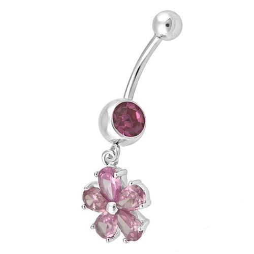 Ocelový piercing Květina, Barva zirkonu: Růžová
