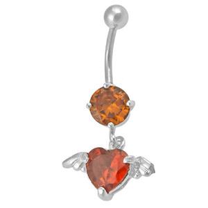 Ocelový piercing Srdce, Barva zirkonu: Červená