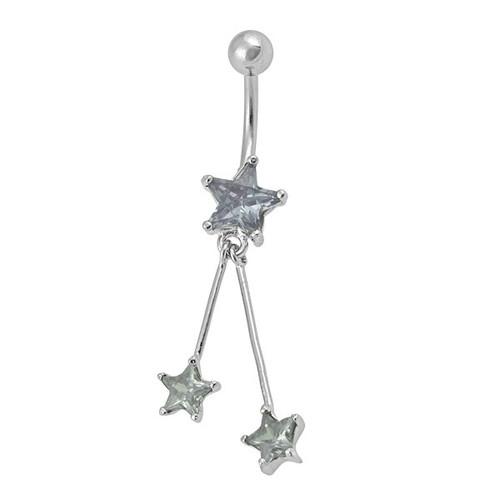 Ocelový piercing Hvězda, Barva zirkonu: Modrá