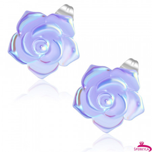 Fialový perleťový květ - Ocelové náušnice