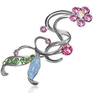 Brož luční květ - rúžové a zelené zirkony