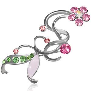 Brož květ - rúžové a zelené zirkony