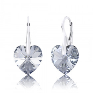 SPERKYLA - Stříbrné rhodiované náušnice ryzost 925/1000 se Swarovski® Crystals Srdce 14mm a efektem Aurora Borealis
