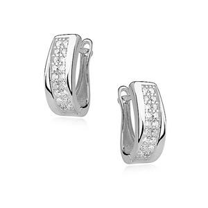 Náušnice - SNEAG0024 - Stříbro 925/1000 - Rhodium - Čirá