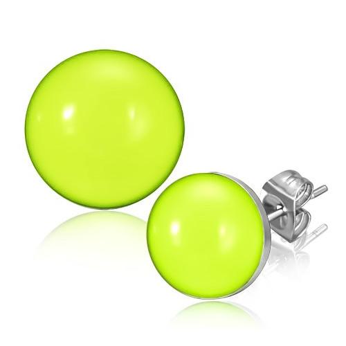 Ocelové náušnice - jasný světle zelený kruhový střed