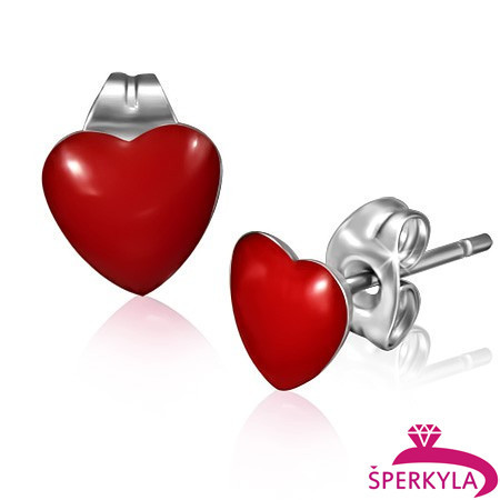 Ocelové náušnice červené srdce