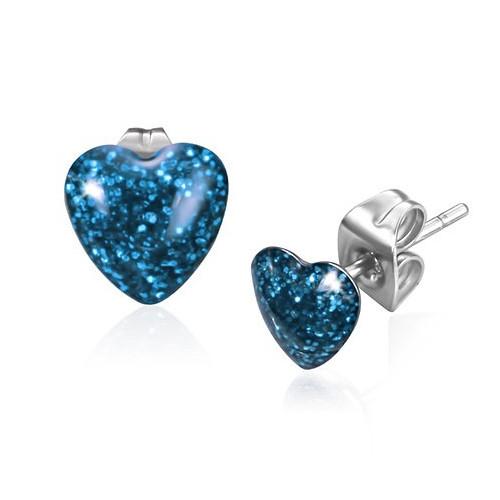 Ocelové náušnice - modré srdce se třpytkami