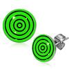 Ocelové náušnice - zvětšující se černé kruhy na zeleném podkladu
