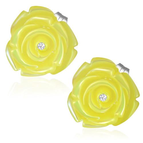 Žlutý perleťový květ s kamínkem - Ocelové náušnice