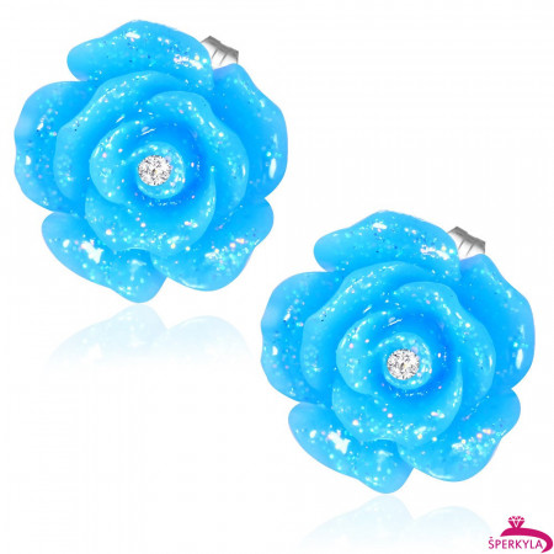 Modrý třpytivý květ s kamínkem - Ocelové náušnice