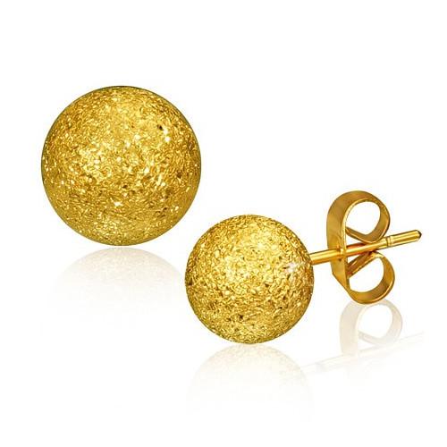 Zlaté ocelové náušnice s kuličkami, hrubý povrch