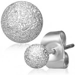 Malé ocelové náušnice s kuličkou na tyčce, puzeta, hrubý pískovaný povrch
