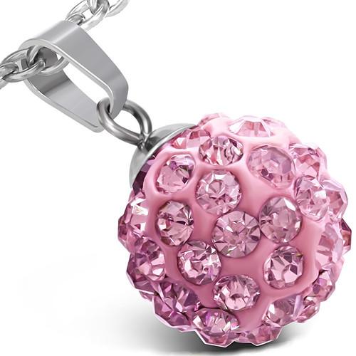 12mm – Růžová kulička s kamínky – Ocelový přívěsek - WPA163BA