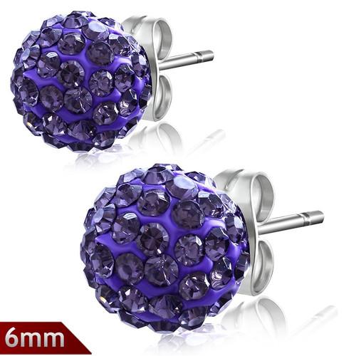 6mm – Fialová kulička s kamínky