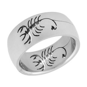 Ocelový prsten štír vyfrézovaný ze dvou stran