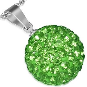 Ocelový přívěsek Disco Ball 13 mm- kulička s zelenými zirkony