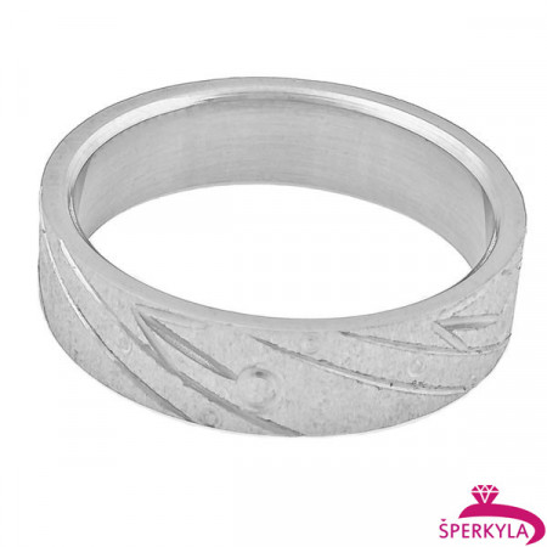 Ocelový prsten rýhovaný povrch