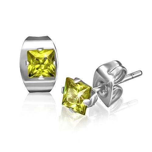 Ocelové náušnice - čtvercové žluté kamínky