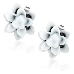 Bílo černý třpytivý květ - Ocelové náušnice