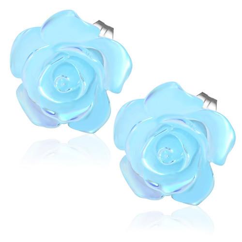 Světle modrý perleťový květ - Ocelové náušnice