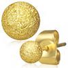 Malé zlaté ocelové náušnice s kuličkou na tyčce, puzeta, hrubý pískovaný povrch