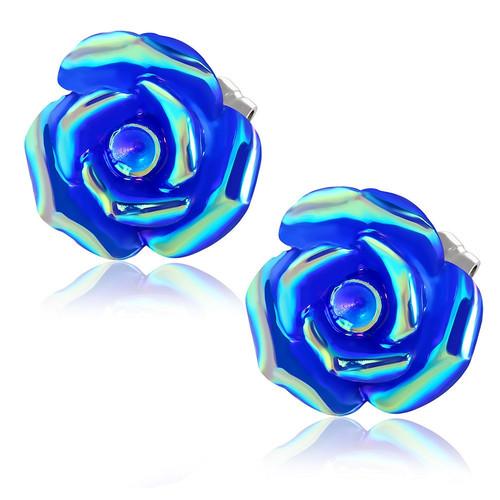 Tmavě modrý květ se zlatou perletí - Ocelové náušnice