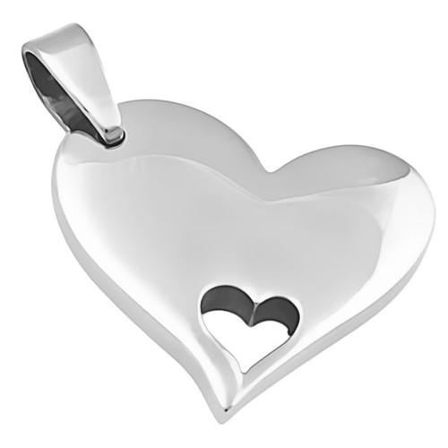 Ocelový přívěsek srdce s výřezem malého srdíčka